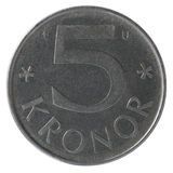 le monete da 5 corone svedesi Fotografie Stock Libere da Diritti