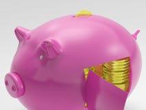 Le monete di oro mostra la ricchezza e le ricchezze di finanze Immagini Stock