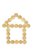 Le monete hanno organizzato nella figura della Camera immagini stock libere da diritti
