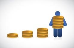 Le monete rappresentano graficamente e l'illustrazione dell'icona dell'avatar Fotografia Stock