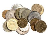 Le monete soldi russe Immagini Stock