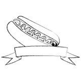 le monochrome a brouillé la découpe du hot-dog avec de la sauce et le ruban Images stock