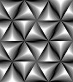 Le monochrome sans couture a courbé le modèle de triangle miroitant doucement de la lumière à l'obscurité Effet visuel de volume Photos libres de droits