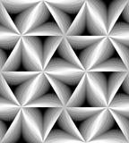 Le monochrome sans couture a courbé le modèle de triangle miroitant doucement de la lumière à l'obscurité Effet visuel de volume Photos stock