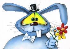 Le monsieur bleu de lapin donne un bouquet des fleurs Photos stock
