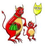Le Monstre-bébé marche avec lui est Monstre-mère ensemble illustration stock