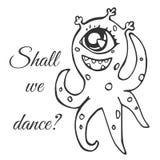Le monstre borgne avec des tentacules repérées Image libre de droits