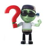 le monstre de frankenstein de 3d Halloween a une question Photo stock
