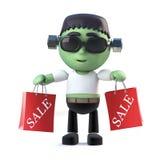 le monstre de frankenstein de 3d Halloween va aux ventes Images stock