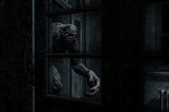 Le monstre effrayant sortent de l'obscurité illustration libre de droits