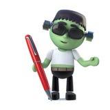le monstre mignon de frankenstein de 3d Halloween a un stylo Photos stock