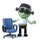 le monstre mignon de frankenstein de 3d Halloween a une offre d'emploi Photos libres de droits