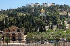 Le mont des Oliviers avec l'église de toutes les nations et l'église de Mary Ma photos libres de droits