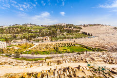Le mont des Oliviers et le vieux cimetière juif à Jérusalem, Israël Photos libres de droits