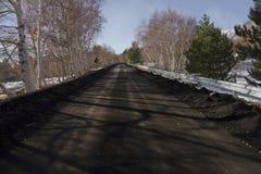 Le mont Etna, cendre volcanique dans la route Image libre de droits
