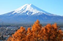 Le mont Fuji couronné de neige image stock