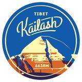 Le mont Kailash insigne extérieur d'aventure en Himalaya, Thibet Illustration de montagne illustration de vecteur