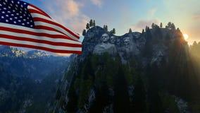 Le mont Rushmore avec les Etats-Unis marquent le soufflement dans le vent contre le ciel bleu illustration de vecteur