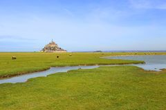 Le Mont-Saint-Michel in the bay Stock Photo