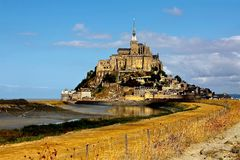 Le Mont Saint Michel Coast Line Avranches France. Le Mont-Saint-Michel English: Saint Michael's Mount) is an island commune in Normandy, France. It is located Stock Images