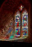 Le Mont Saint Michel Coast Line Avranches France. Stained Glass window in the Chapel at Le Mont-Saint-Michel English: Saint Michael's Mount) is an island commune Royalty Free Stock Image