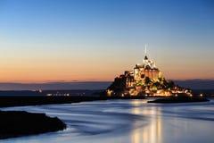 Le Mont Saint Michel, en UNESCOvärldsarv i Frankrike Arkivfoton