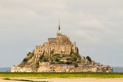 Le Mont-Saint-Michel. Off the country`s northwestern coast, at the mouth of the Couesnon River near Avranches in Normandy, France Stock Photography