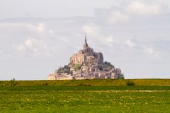 Le Mont-Saint-Michel. Off the country`s northwestern coast, at the mouth of the Couesnon River near Avranches in Normandy, France Royalty Free Stock Photos