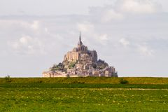 Le Mont-Saint-Michel. Off the country`s northwestern coast, at the mouth of the Couesnon River near Avranches in Normandy, France Stock Photo