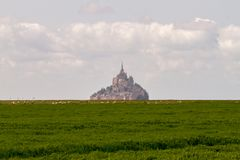 Le Mont-Saint-Michel. Off the country`s northwestern coast, at the mouth of the Couesnon River near Avranches in Normandy, France Royalty Free Stock Photo