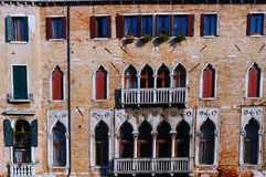 Venice Architecture - Italy. Venetian Gothic is an architectural style combining use of the Gothic lancet arch with Byzantine and Moorish influences. The style royalty free stock image