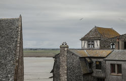 Le Mont-Saint-Michel, Normandy - the buildings and the birds. Royalty Free Stock Image