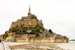 Le Mont-Saint-Michel. Off the country`s northwestern coast, at the mouth of the Couesnon River near Avranches in Normandy, France Royalty Free Stock Images