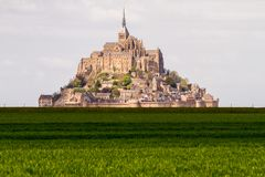 Le Mont-Saint-Michel. Off the country`s northwestern coast, at the mouth of the Couesnon River near Avranches in Normandy, France Stock Images