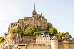 Le Mont-Saint-Michel. Off the country`s northwestern coast, at the mouth of the Couesnon River near Avranches in Normandy, France Stock Image