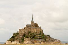 Le Mont-Saint-Michel. Off the country`s northwestern coast, at the mouth of the Couesnon River near Avranches in Normandy, France Royalty Free Stock Photography