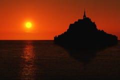 Le Mont Saint Michel silhouette Royalty Free Stock Image