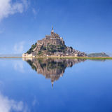 Le Mont Saint Michel. An UNESCO world heritage site in France, with reflection Royalty Free Stock Photo