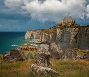 Le Mont-santo-Miguel, Normandie, sitio megalítico de Carnac la costa sur de Bretaña, Etretat marca los acantilados con tiza imágenes de archivo libres de regalías