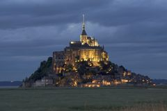 Le Mont St Michel. In Normandie, France, at sunset Royalty Free Stock Photography