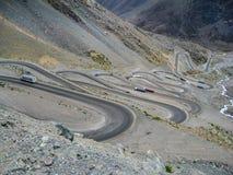 Le montagne di Portillo Caracoles il Cile Fotografie Stock Libere da Diritti