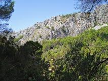 Le montagne e le rocce in Galatzo parcheggiano l'ombra di Maiorca Fotografia Stock