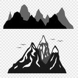 Le montagne e le siluette degli uccelli isolati su un fondo trasparente Elementi di vettore per il vostro disegno illustrazione vettoriale