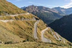 Le montagne, i picchi e gli alberi abbelliscono, ambiente naturale Alta strada alpina di Timmelsjoch Immagini Stock Libere da Diritti