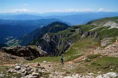 Le montagne meravigliose della dolomia abbelliscono/valle di gardena/picco schlern Immagini Stock