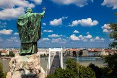 Le monument à évêque Gellert à Budapest, Hongrie Photographie stock