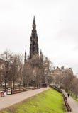 Le monument de Walter Scott sur la rue de princesse Photo libre de droits