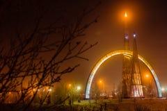 le monument du croisement du cercle arctique Photo stock