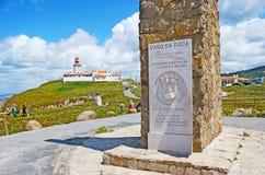 Le monument sur le cap Roca Image stock