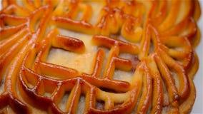 Le mooncake chinois de style traditionnel tournant les Chinois signifie le cinq-noyau pur aucun logo clips vidéos